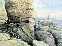 Sächsische schweiz, Landschaft, Felsformation, Aquarellmalerei