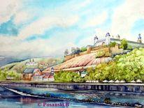 Main, Mai, Festung, Aquarellmalerei