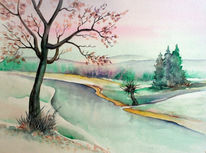 Fluss, Aquarellmalerei, Landschaft, Aquarell