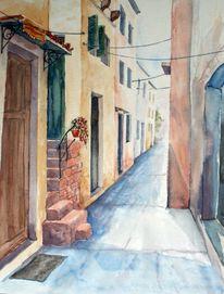 Aquarellmalerei, Haus, Landschaft, Kreta