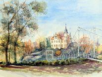 Gebäude, Aquarellmalerei, Schloss, Landschaft