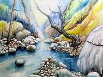 Bach, Aquarellmalerei, Schlucht, Landschaft