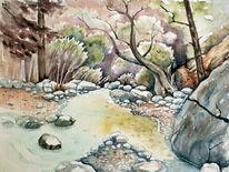 Schlucht, Bach, Aquarellmalerei, Landschaft