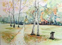 Herbstlandschaft, Borsdorf, Aquarellmalerei, Herbst