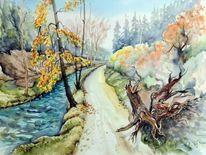 Herbst, Aauarelle, Kirmitzschtal, Herbstlandschaft