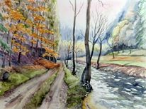 Kirnitzschtal, Herbst, Elbsandsteingebirge, Aquarellmalerei