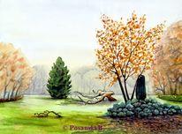 Nebel, Park, Schlosspark, Knauthain
