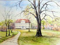 Park, Aquarellmalerei, Schloss, Landschaft