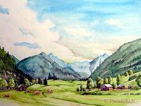 Österreich, Tal, Riesachwasserfälle, Aquarell