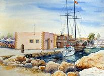 Kreta, Rethimno, Hafen, Aquarellmalerei