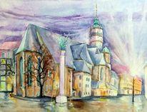 Nikolaikirche, Haus, Gebäude, Aquarellmalerei