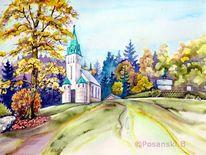 Bedrichov, Aquarellmalerei, Architektur, Kirche