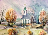 Kirche, Aquarellmalerei, Haus, Landschaft