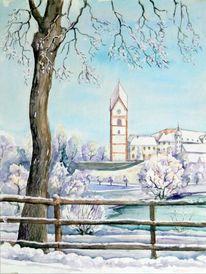 Kloster, Aquarellmalerei, Kloster scheyern, Landschaft