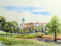 Kloster, Landschaft, Scheyern, Aquarellmalerei