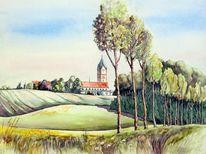 Aquarellmalerei, Scheyern, Kloster, Landschaft