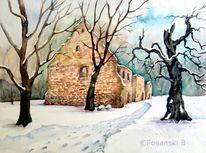 Klosterruine, Kloster, Aquarellmalerei, Ruine