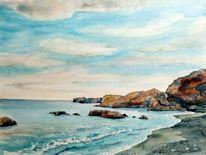 Küste, Lanzarote, Aquarellmalerei, Landschaft