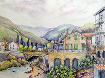 Landschaft, Italien, Dolceacqua, Häuser