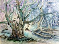 Landschaft, Mystischer wald, Baum, Aquarellmalerei