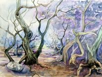 Baum, Mystik, Aquarellmalerei, Wald