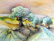 Olivenbäume, Aquarellmalerei, Studie, Olivenbaum