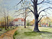 Aquarellmalerei, Landschaft, Güldengossa, Park