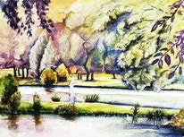 Aquarellmalerei, Landschaft, Park, Macher