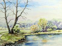 Frühlingslandschaft, Aquarellmalerei, Park, Landschaft