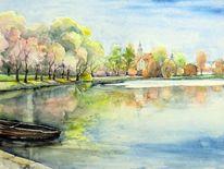 Park, Aquarellmalerei, Schlosspark, Landschaft