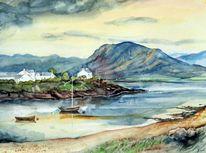 Aquarellmalerei, Landschaft, Hafen, Meer