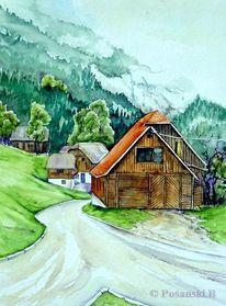 Ramsau, Berge, Österreich, Aquarell