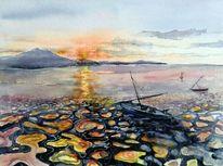 Landschaft, Meer, Abendstimmung, Aquarellmalerei