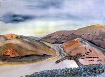 Lanzarote, Aquarellmalerei, Landschaft, Vulkanlandschaft