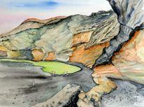 Vulkanlandschaft, Aquarellmalerei, Landschaft, Vulkan