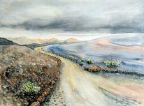 Aquarellmalerei, Vulkanlandschaft, Landschaft, Vulkan