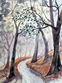Wald, Weg, Aquarellmalerei, Landschaft