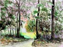 Landschaft, Waldweg, Saale, Wanderweg