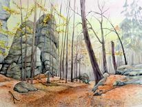 Elbsandsteingebirge, Aquarellmalerei, Herbstlandschaft, Sächsische schweiz