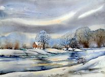 Grimma, Winter, Fluss, Aquarellmalerei