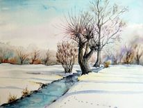 Aquarellmalerei, Winterlandschaft, Landschaft, Winter