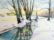 Winterlandschaft, Winter, Borsdorf, Aquarellmalerei