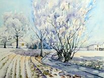 Winter, Pösgraben, Winterlandschaft, Aquarellmalerei
