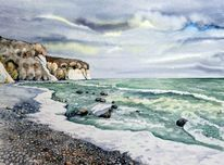 Ostsee, Winter, Aquarellmalerei, Landschaft