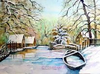 Winter, Spreewald, Winterlandschaft, Aquarellmalerei