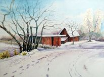 Winter, Kleinpösna, Winterlandschaft, Aquarell