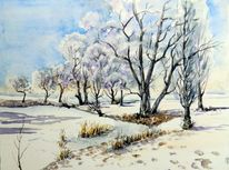 Kleinpösna, Winter, Aquarellmalerei, Landschaft