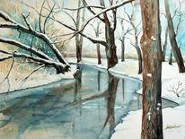 Park, Winter, Aquarellmalerei, Landschaft