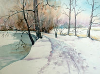 Aquarellmalerei, Park, Landschaft, Winter