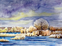 Wasserlandschaft, Winter, Aquarell